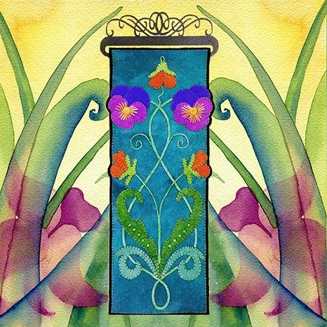 WoolyLady - Nouveau Pansies Wall Hanging