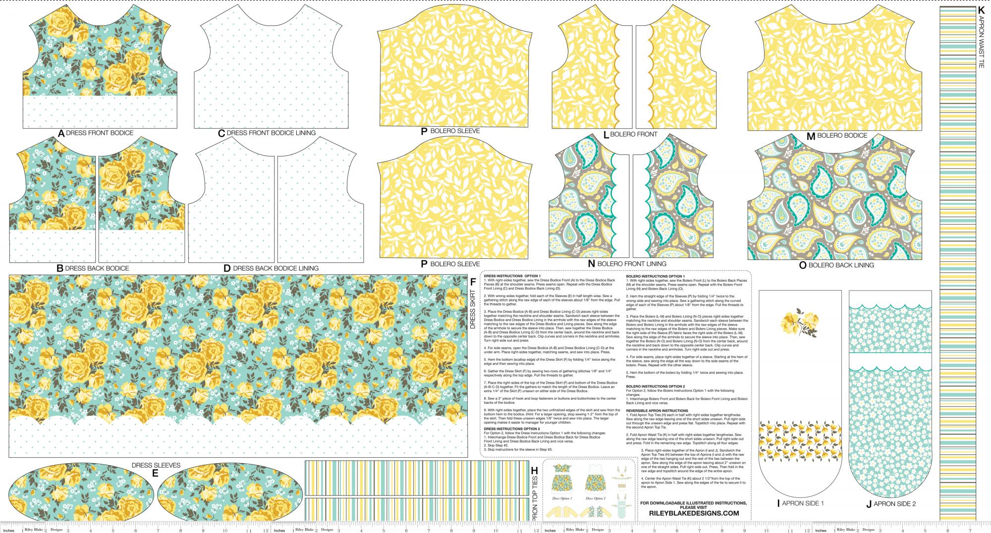 Riley Blake - Primrose Garden - Doll Dress Panel - P4041 Aqua