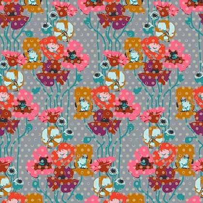 Floral Retrospective - Raindrop Poppies - Platinum
