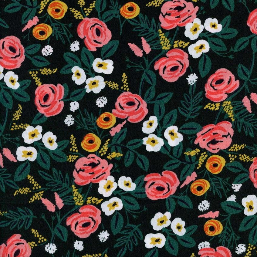 Rifle Paper Co. - Wonderland Rayon - Paint Roses - Black