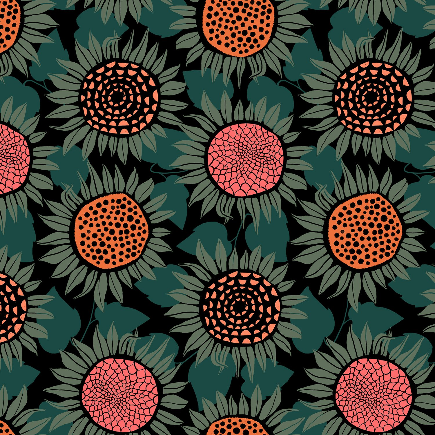 Cotton + Steel - Front Yard Sunflowers Green Knit