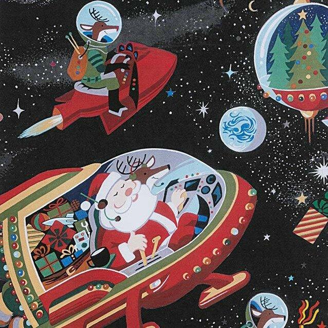 Christmas Time - Santa in Space - Black