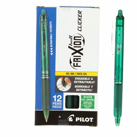 Frixion Clicker Pen Green Fine Point