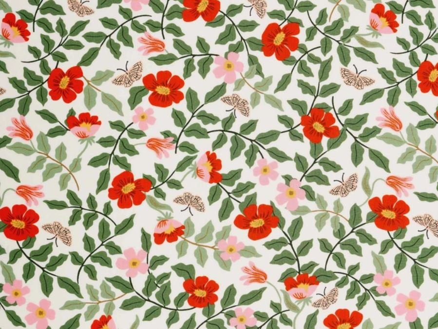Primrose Ivory Rayon - Strawberry Fields