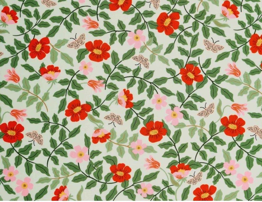 Primrose Mint Rayon - Strawberry Fields
