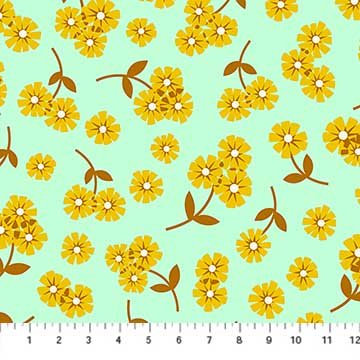 Daisies in Mint Rayon - Butterscotch