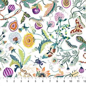 Garden in White Rayon - Forage - Sarah Gordon for FIGO Fabrics
