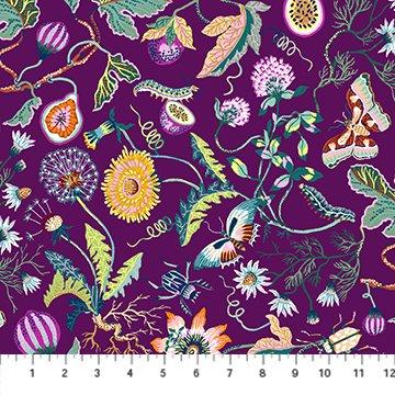 Garden in Purple Rayon - Forage - Sarah Gordon for FIGO Fabrics