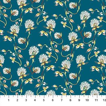 Clover in Teal Rayon - Forage - Sarah Gordon for FIGO Fabrics