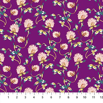 Clover in Purple Rayon - Forage - Sarah Gordon for FIGO Fabrics