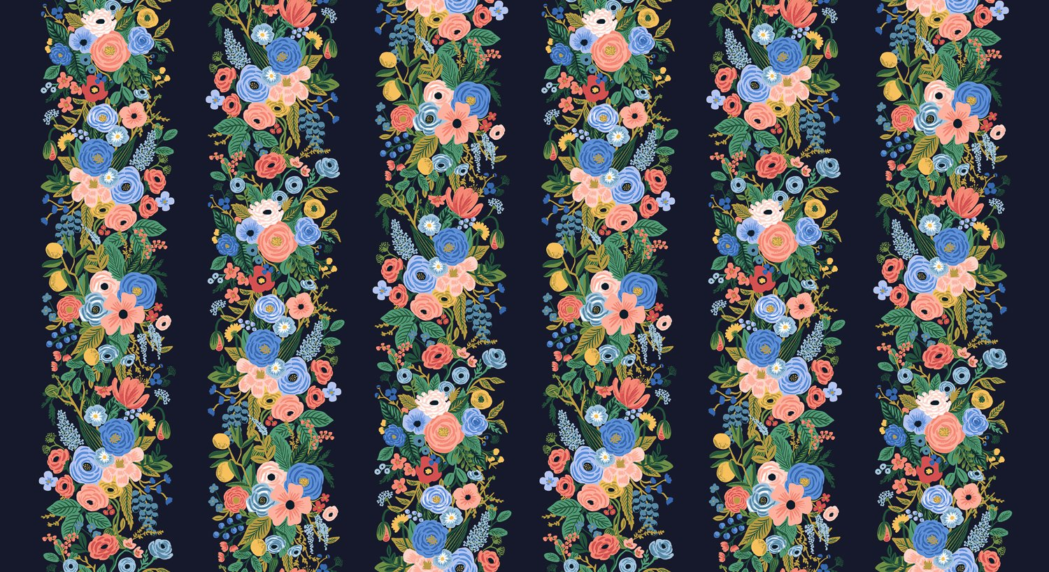 Garden Party Vines - Blue Rayon  Wildwood - Rifle Paper Co.