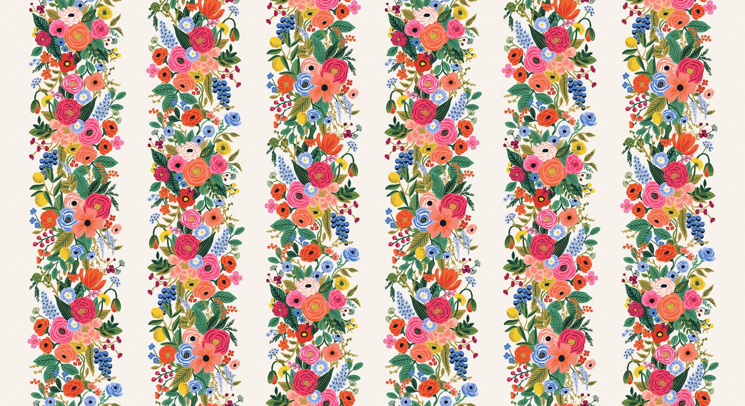 Garden Party Vines - Pink Rayon  Wildwood - Rifle Paper Co.