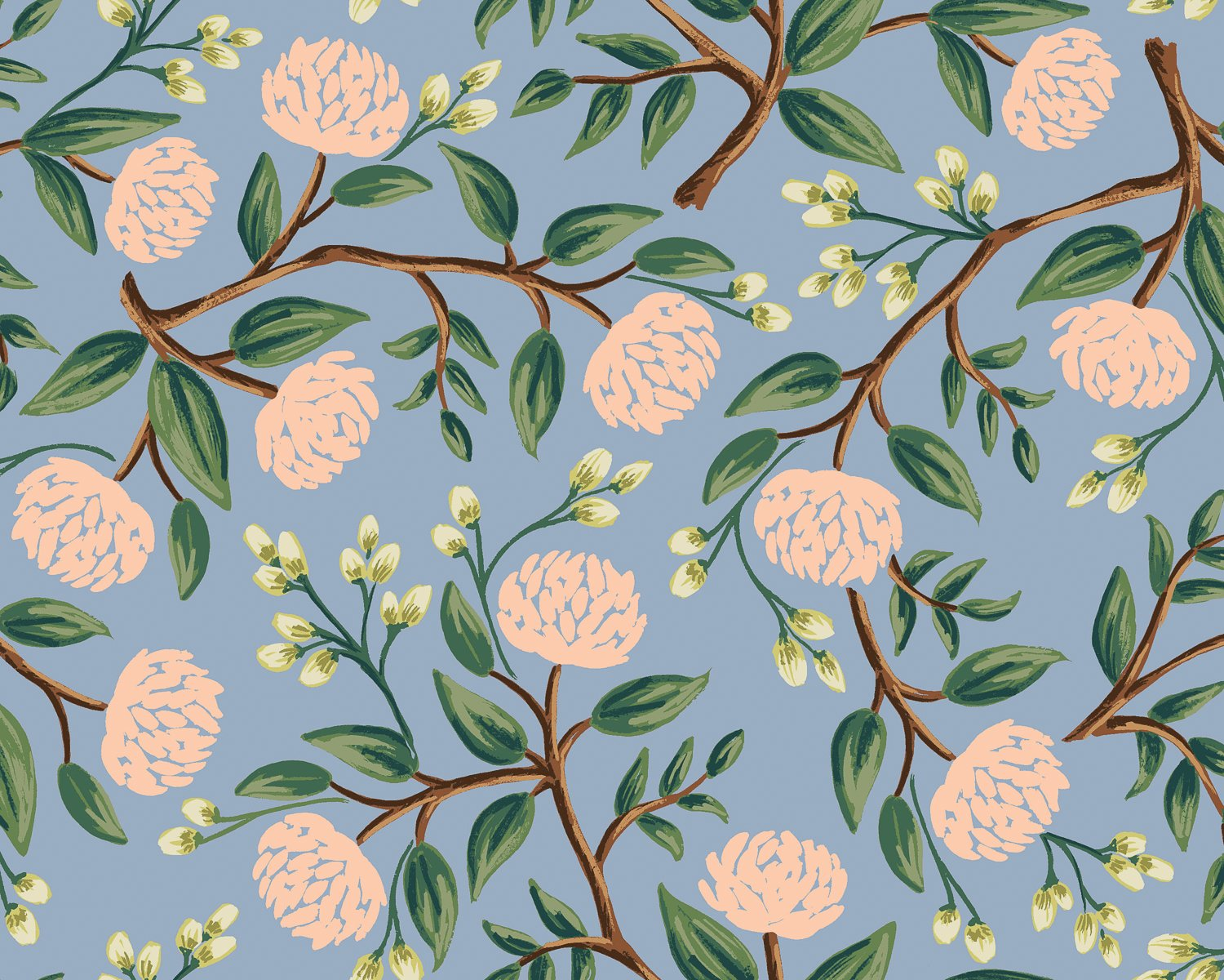 Peonies - Dusty Blue  Wildwood - Rifle Paper Co.