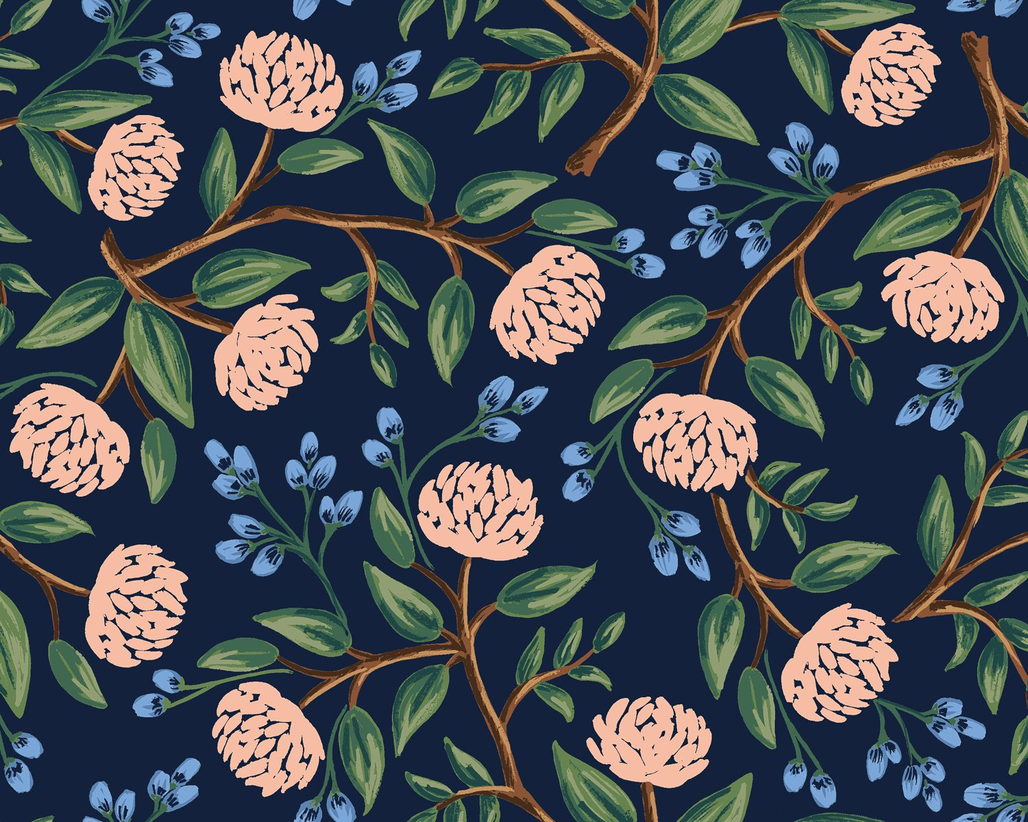 Peonies - Navy  Wildwood - Rifle Paper Co.