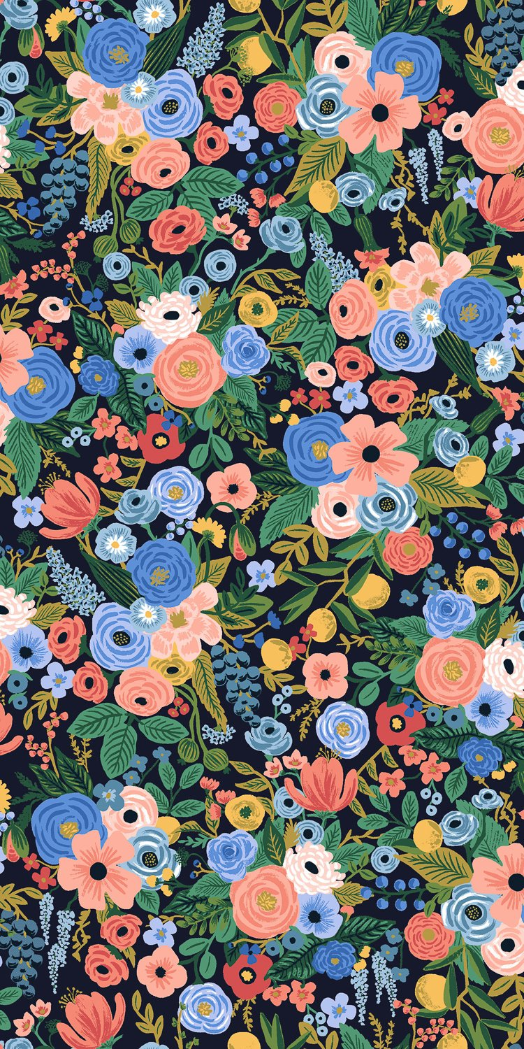 Petite Garden Party - Navy Rayon  Wildwood - Rifle Paper Co.