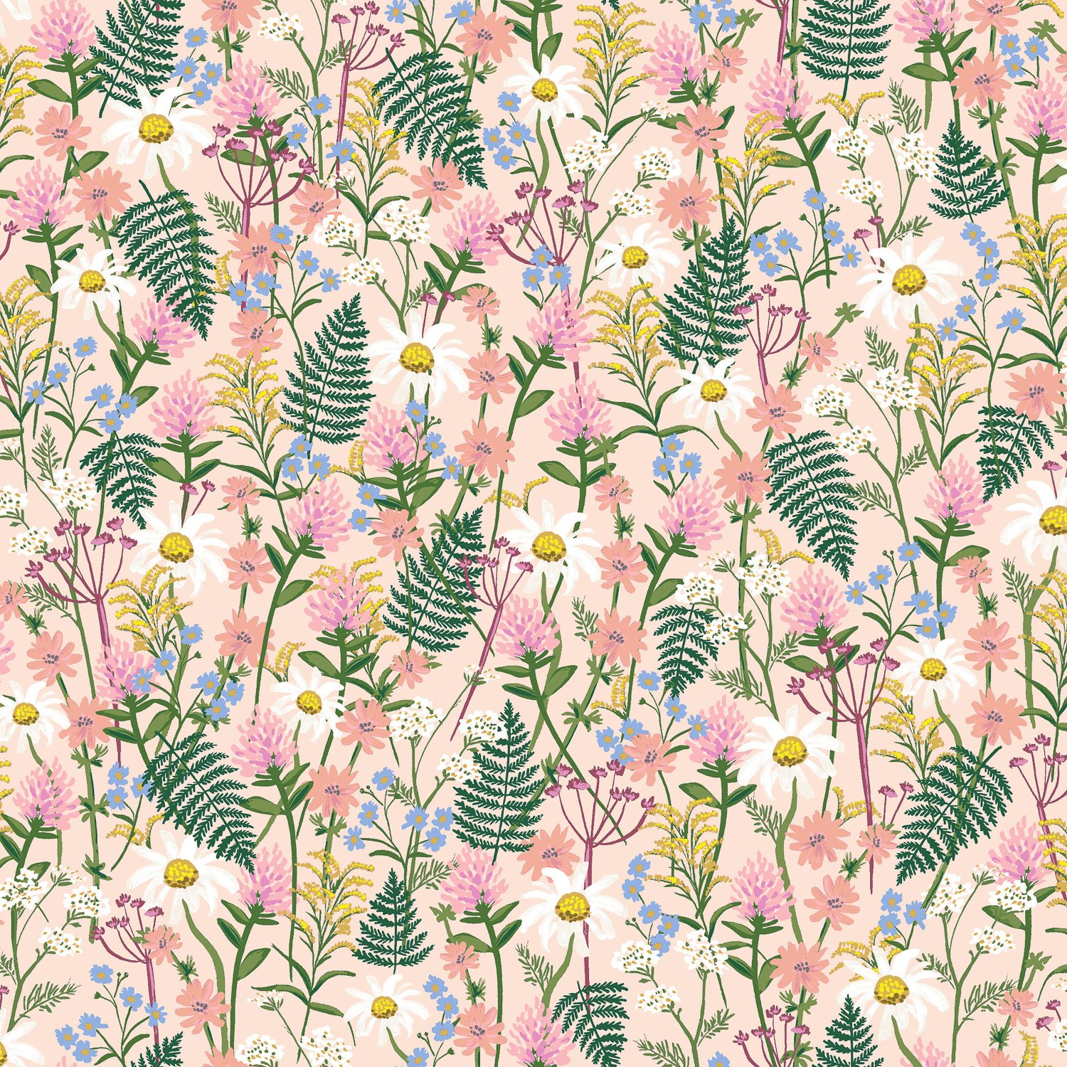 Wildflowers - Pale Rose Lawn Wildwood - Rifle Paper Co.
