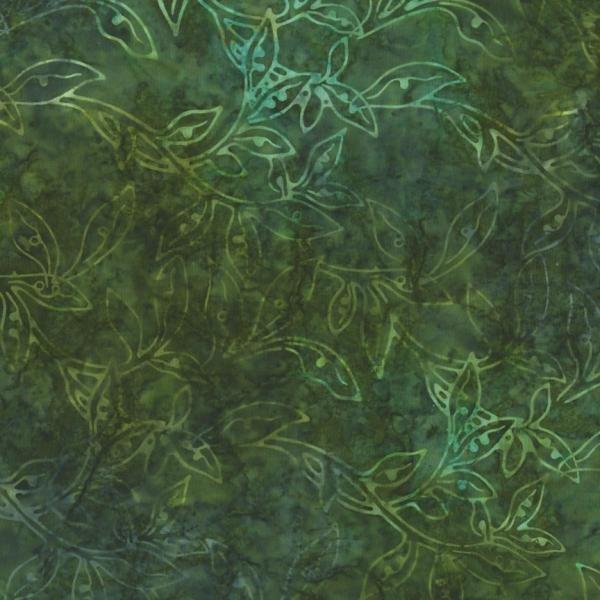 Best Of Malam Batiks - Vine Leaf - Dark Khaki Fabric