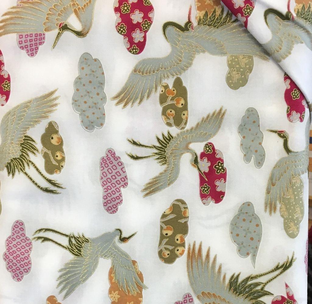 Kimono Art - White w/Cranes