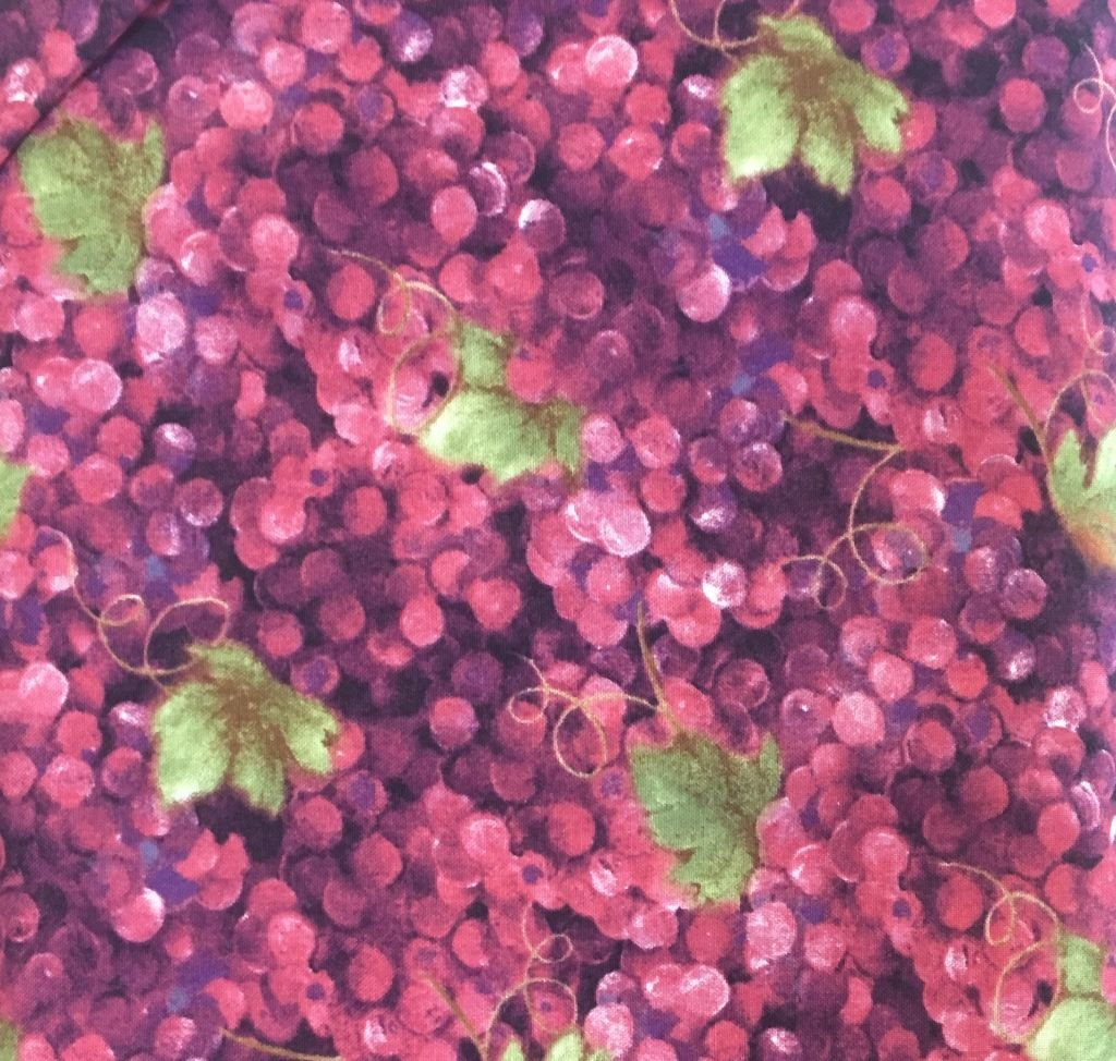 Burgandy/Pink Grapes Green Leaves