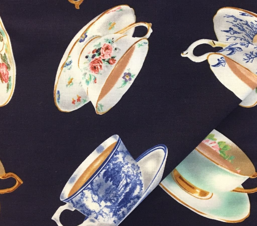 High Tea - Navy with teacups