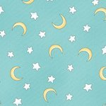 Sweet Pea- light teal stars and moons