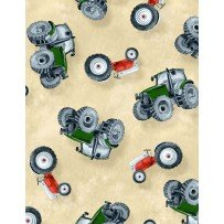 Tossed Tractors Ivory- Green Mountain Fabric