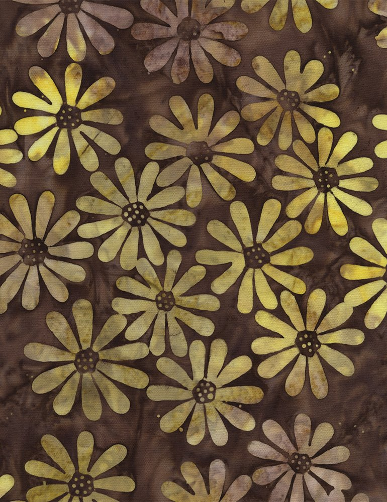 Daisies Cocoa Yellow Batik