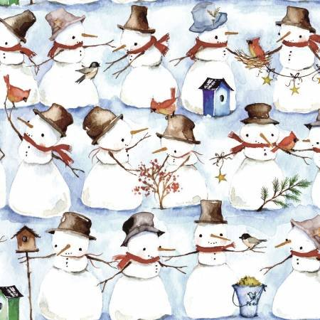 Winter snowmen & Wreaths  Multi All Over Snowmen