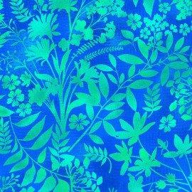 Aflutter - Teal flowers & leaves on blue