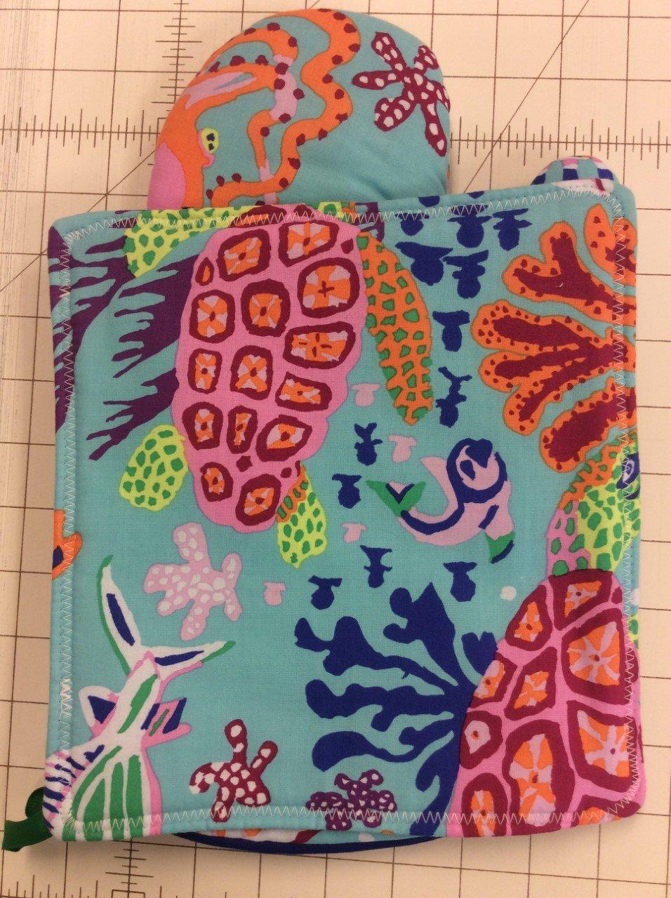 Oven Mitt&Hotpad Set-Colorful Sealife