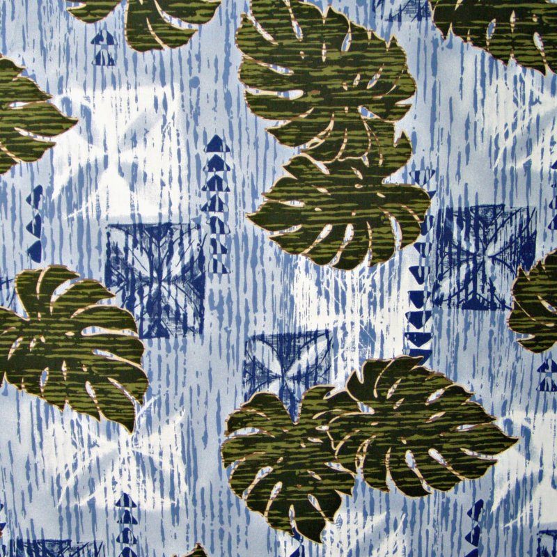 Monstera Leaf & Motif - Lt. Blue