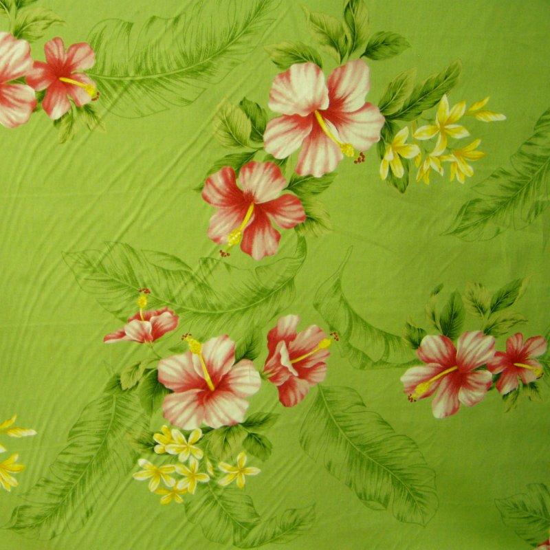Hibiscus Floral Print - Lt. Green