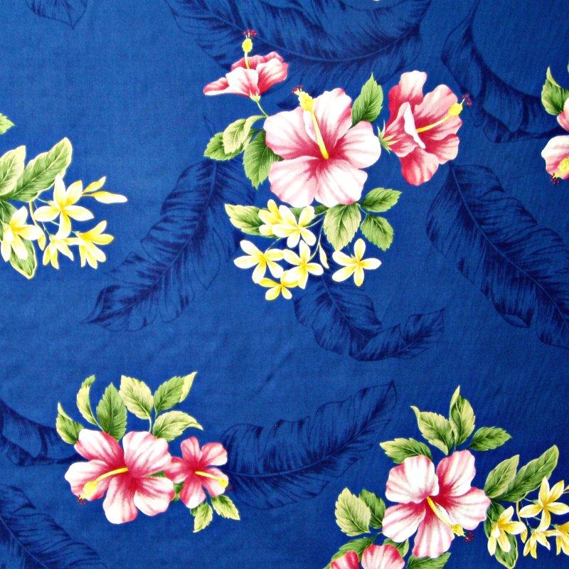 Hibiscus Floral Print - Dark Blue