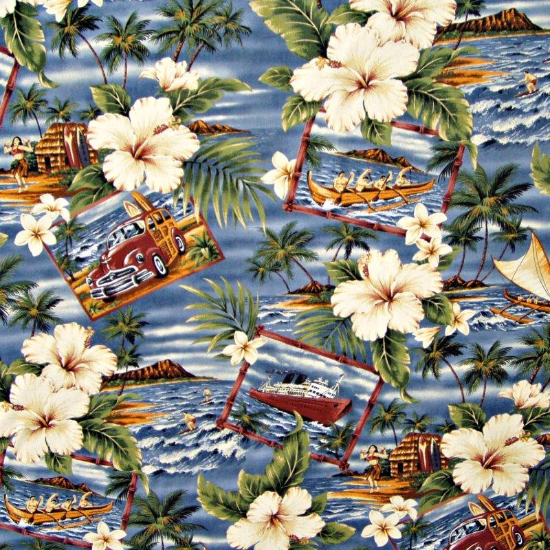 Hibiscus / Hawaiian Scenes - Blue