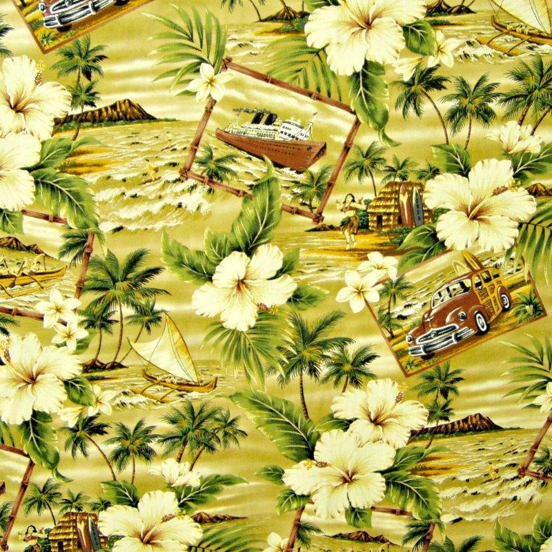 Hibiscus / Hawaiian Scenes - Tan