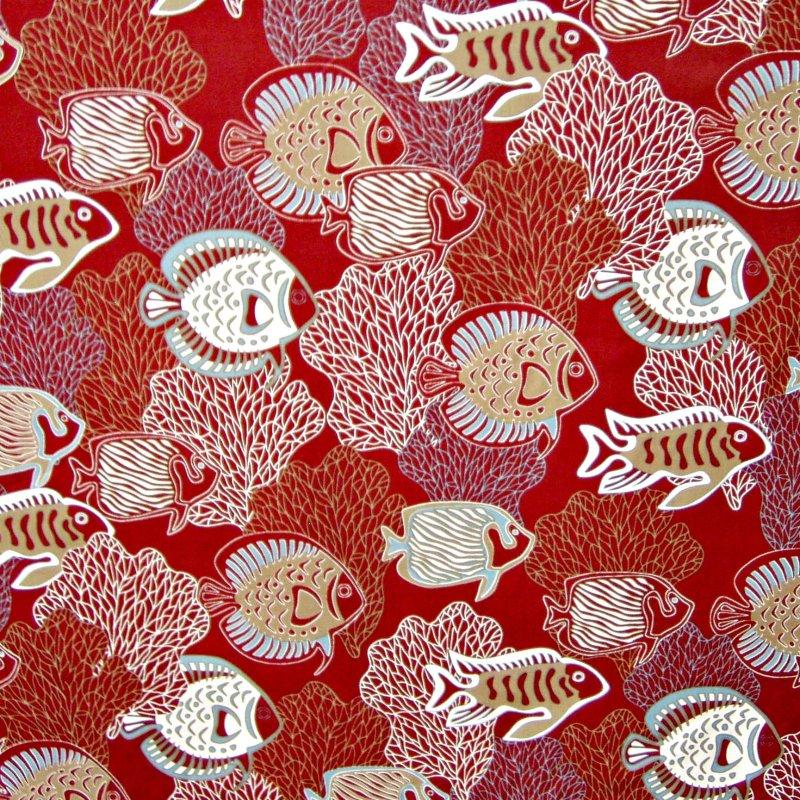 Fish & Coral Print - Red