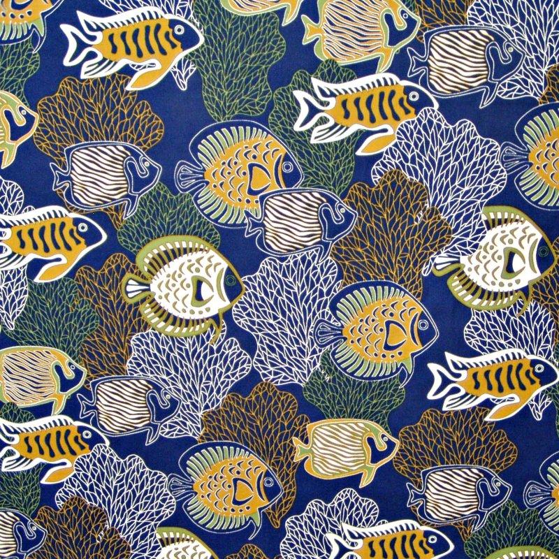 Fish & Coral Print - Navy