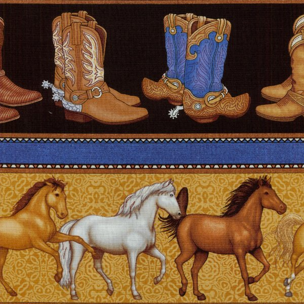Saddle Up - Horses & Boots - Brown