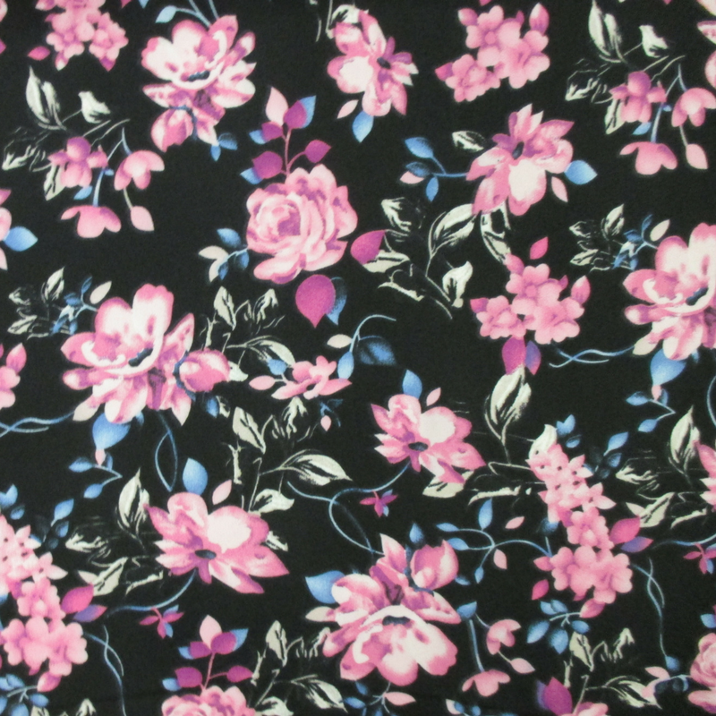 Black and Pink Floral (Double Brushed Knit)