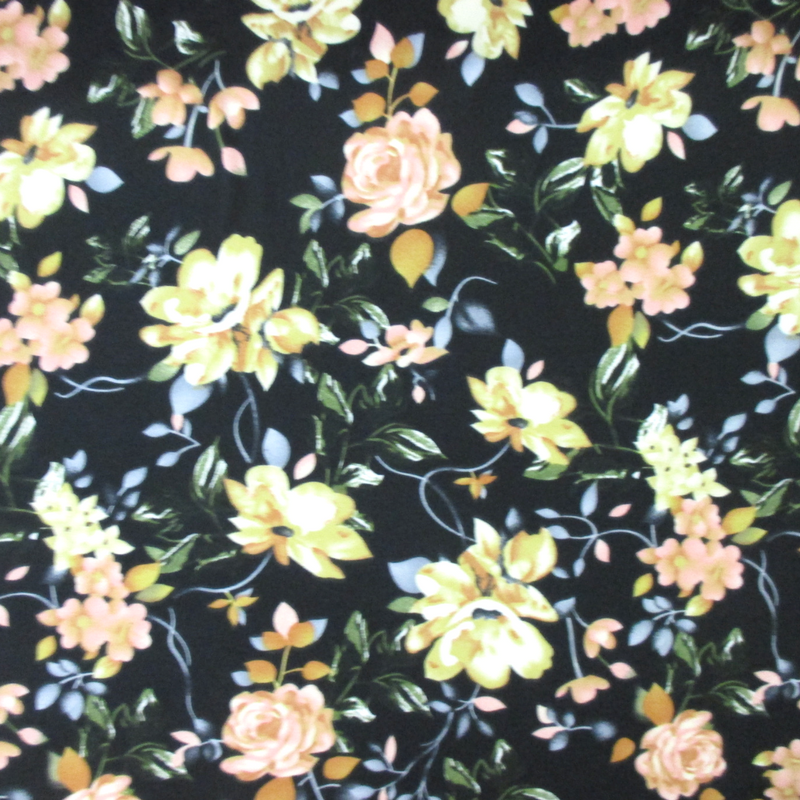 Black and Golden Rose Floral (Double Brushed Knit)