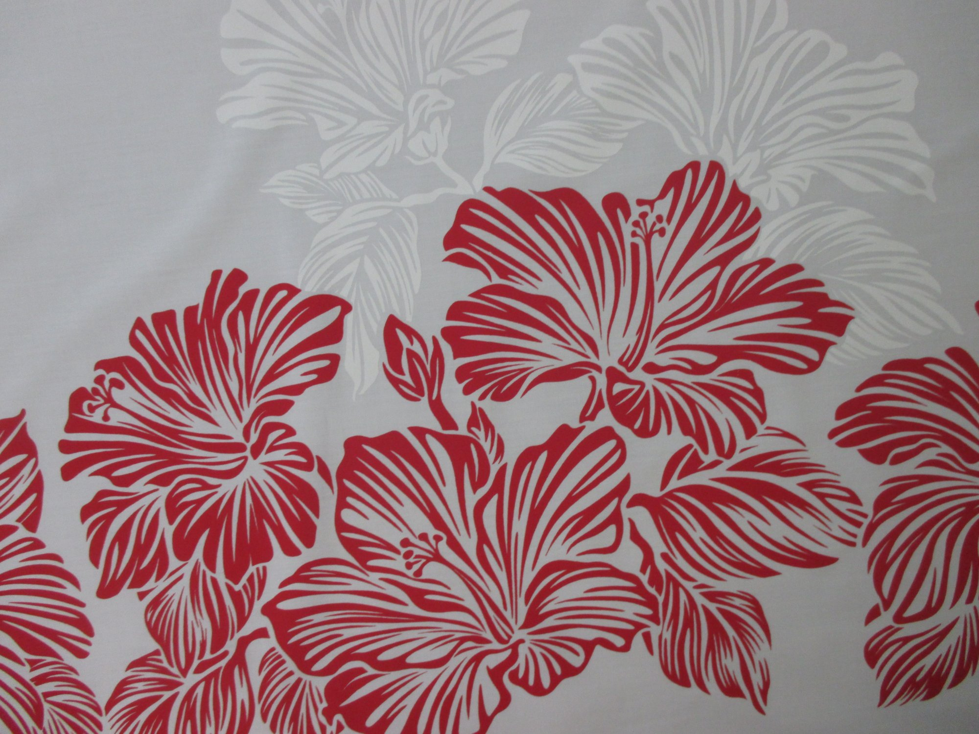 Large Hibiscus Border - White/Red