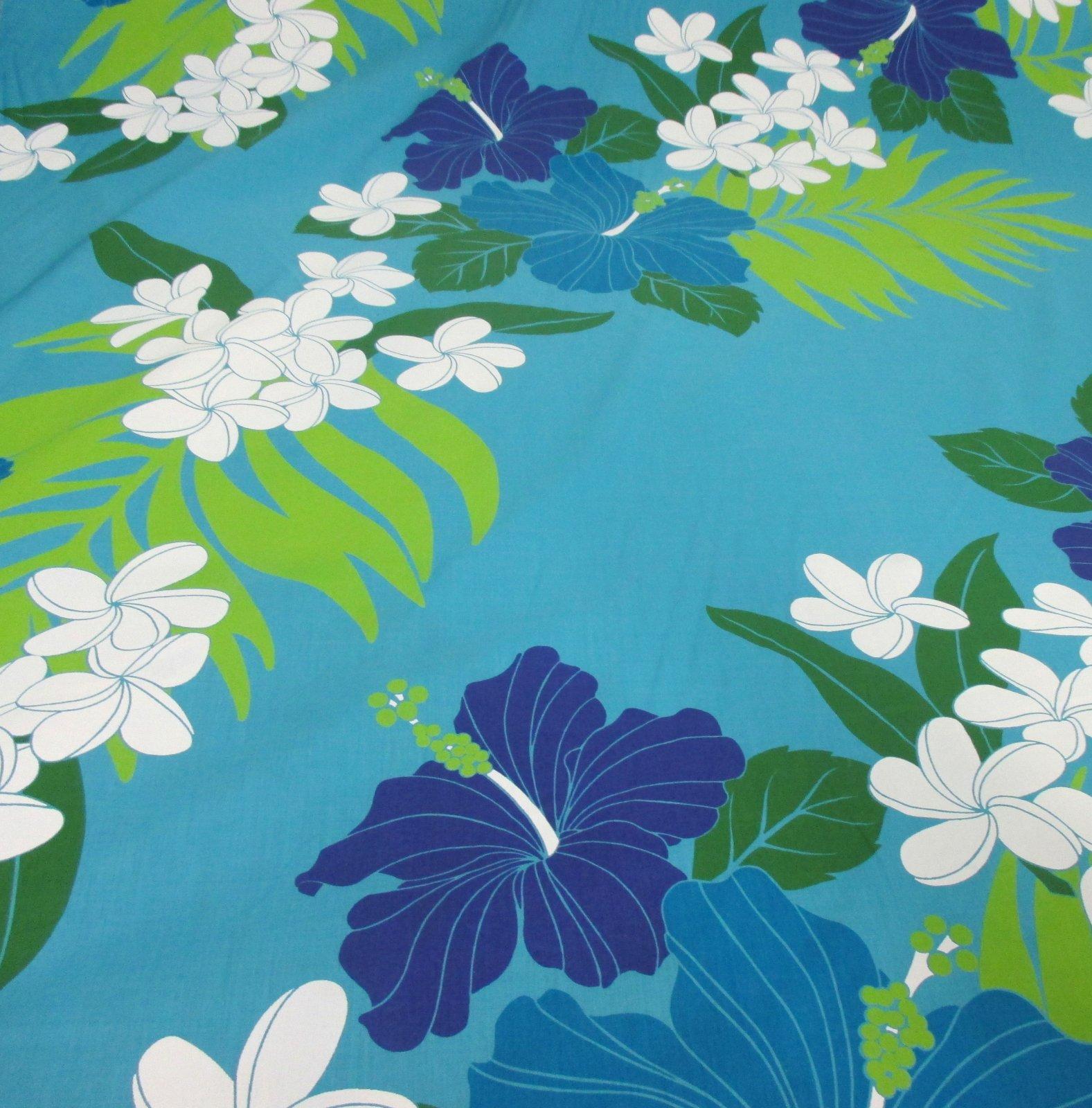 Hibiscus and Plumeria - Blue