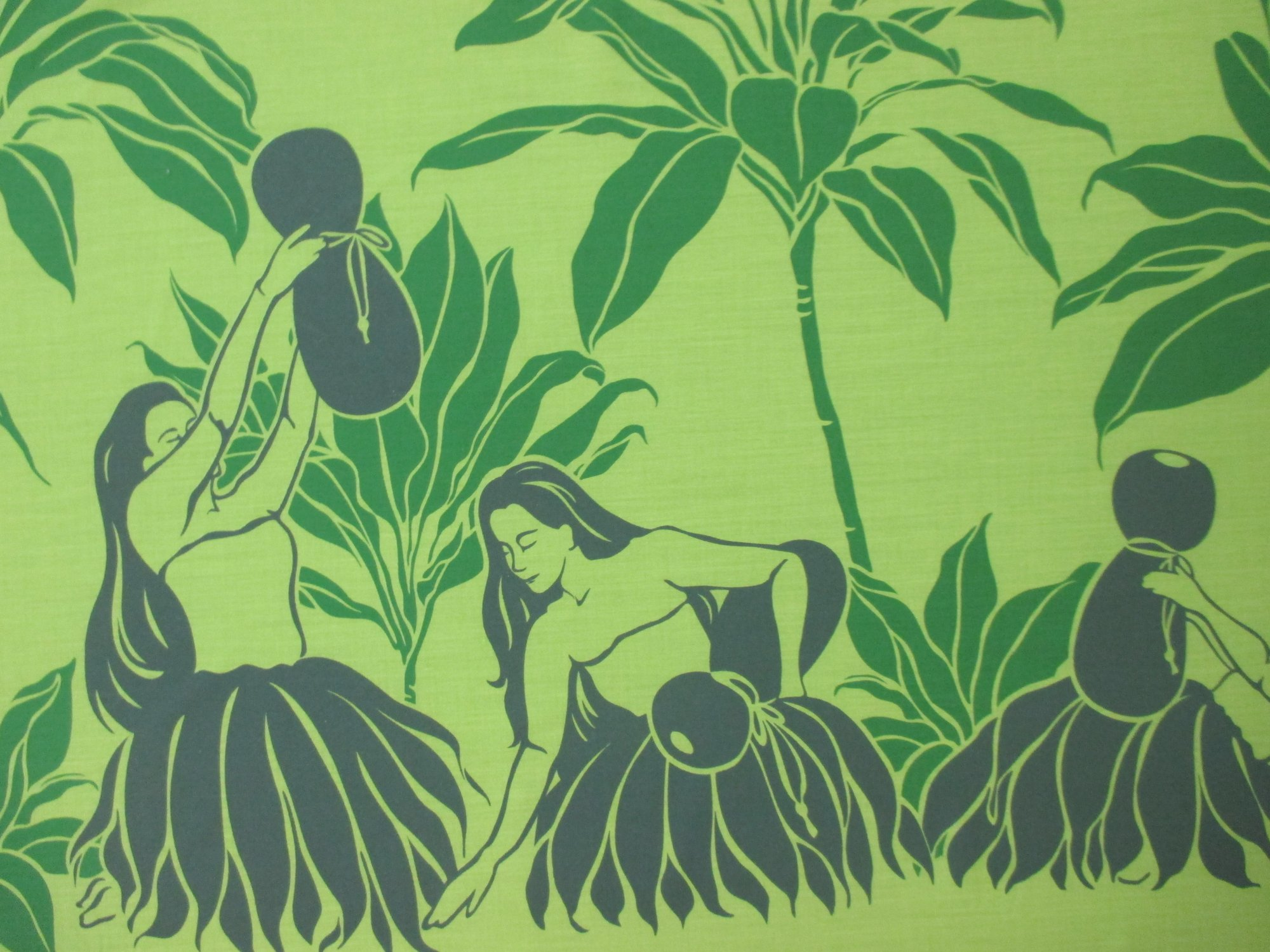 Hula Dancer Border Print - Green