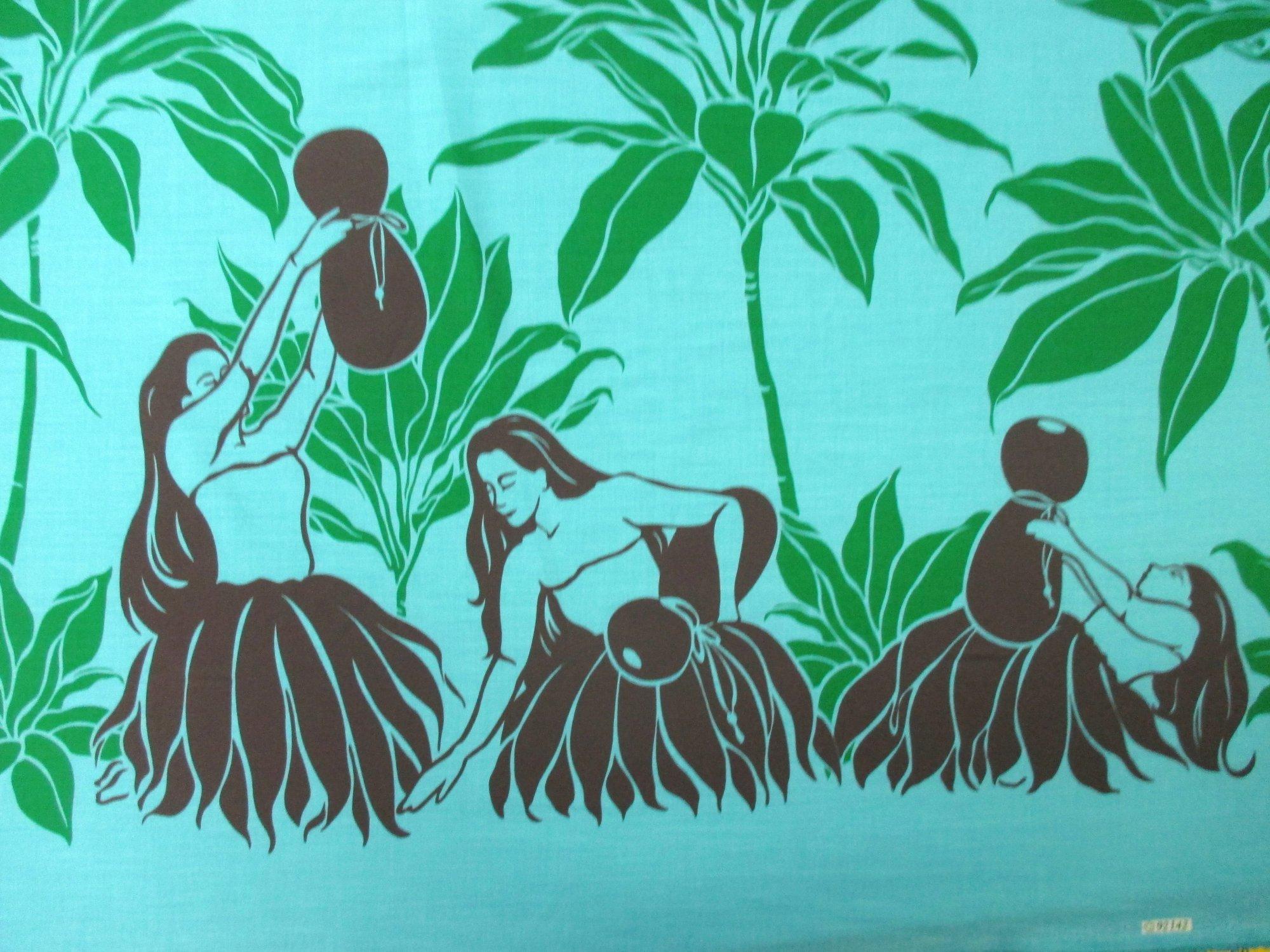Hula Dancer Border Print - Turquoise