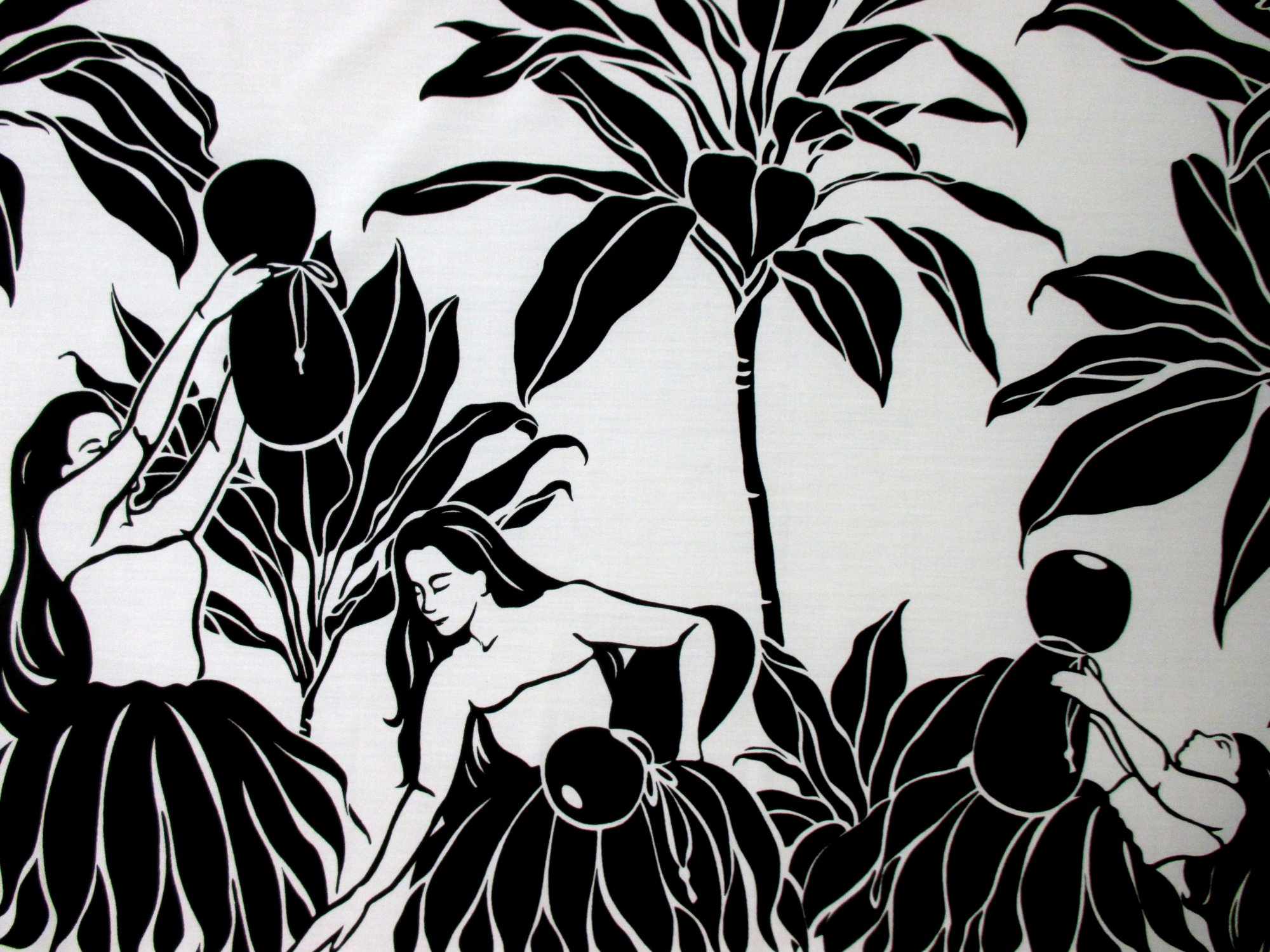 Hula Dancer Border Print - White/Black
