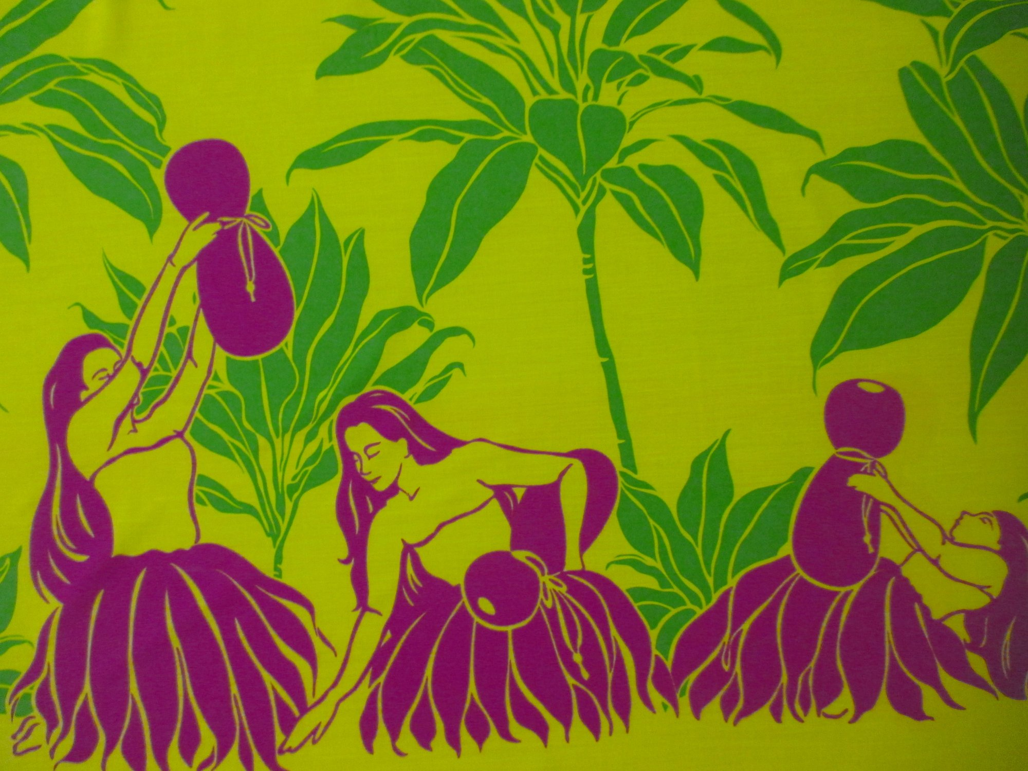 Hula Dancer Border Print - Yellow