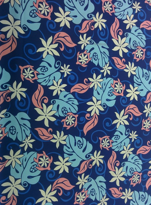 Contemporary Turtle / Floral Print - Navy