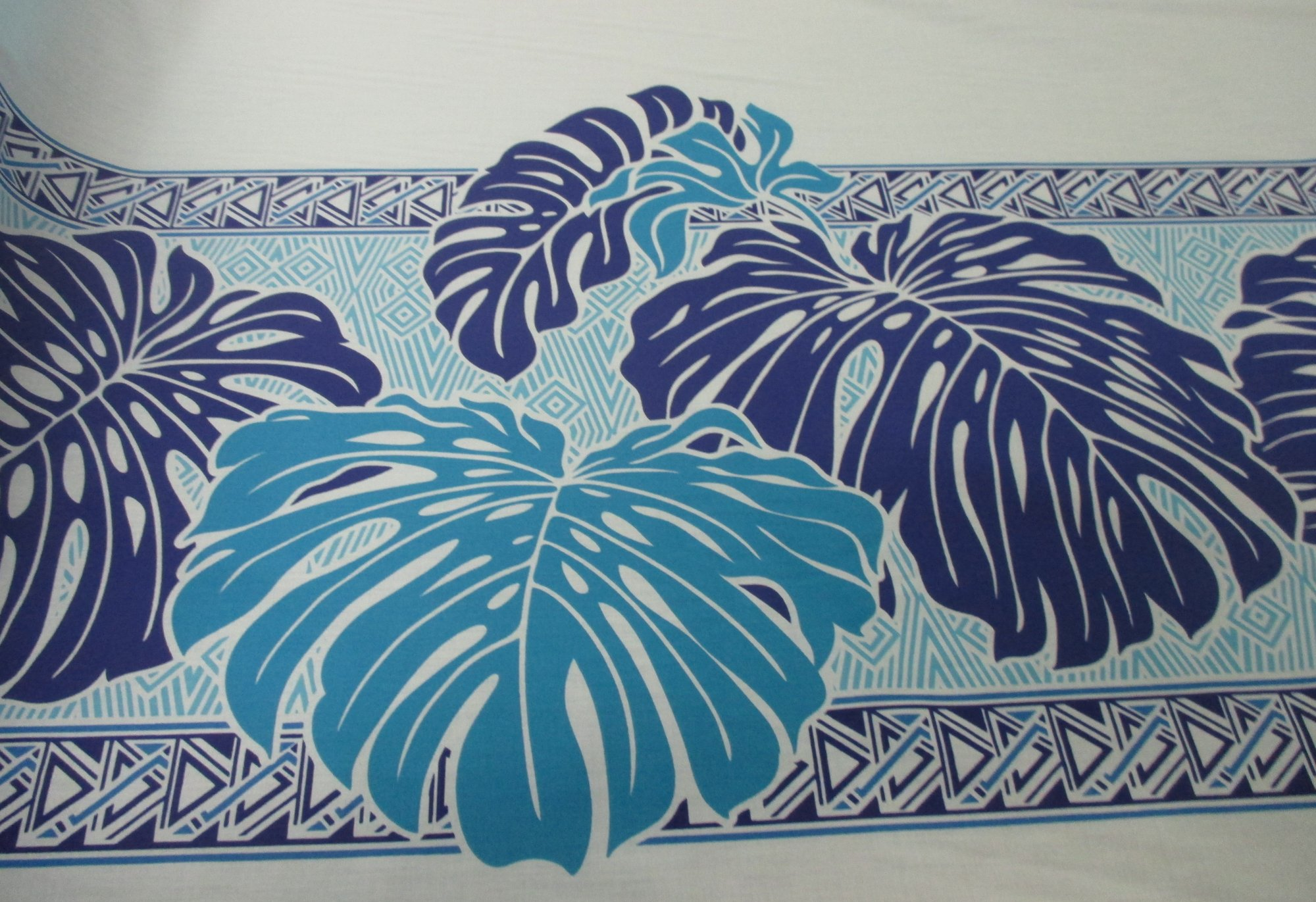 Large Monstera Border - Blue