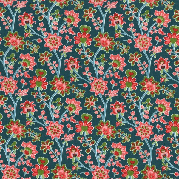 The Sultan's Garden - Flower Blooms - Teal and Coral