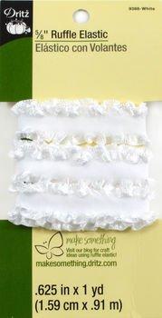 Dritz Ruffle Elastic 5/8 in White